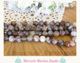 5 beads 8mm botswana natural, dyed and unheated