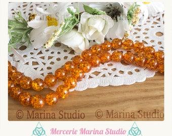 5 beads amber resin 8mm
