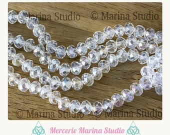 Beautiful beads crystal clear AB multi 8X6mm reflection
