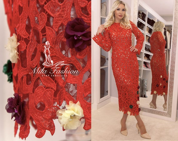 Red Guipure French Lace Long Sleeve Midi Dress With Flowers