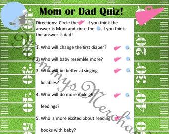 Mom or Dad Quiz Printable Gender Reveal Game