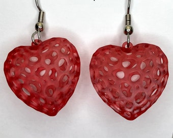 NEW 3d-printed Voronoi heart earrings, made with math & code