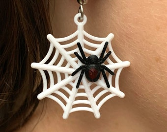 Spiderweb 3d printed Earrings webs with and/or without a Spider
