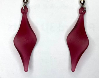 NEW 3d printed ribbon twists drop earrings, made with math & code