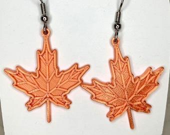 Maple Leaf, 3d printed, math designed, earrings