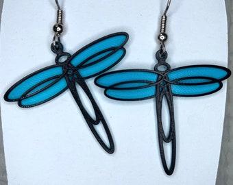Dragonfly 3d printed earrings