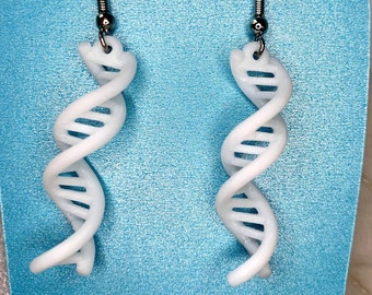 NEW 3d printed DNA, Double Helix earrings, made with math & code