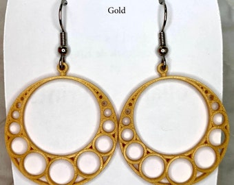 Apollonian Gasket 3-D printed earrings, Fractal Geometry, Nested Circles