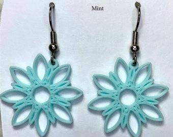 Dahlia flower geometric design 3d printed earrings