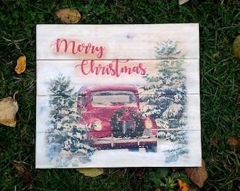 Merry Christmas winter car scene