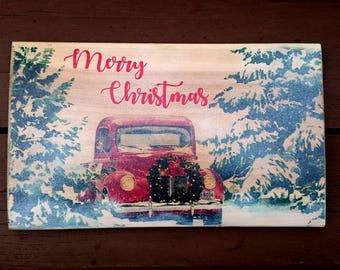 Merry Christmas winter car scene smaller