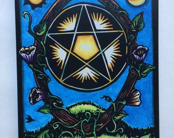 """Giclee Ace of Pentacles 8"""" x 10"""" Canvas Print from the World Spirit Tarot"""