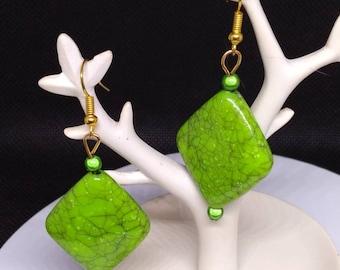 Pistachio green earrings