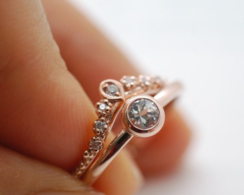 Bezel set White Sapphire ring Round natural Sapphire yellow gold rose gold engagement ring