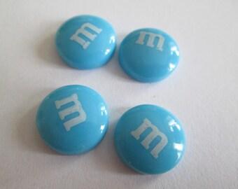 2 BLUE RESIN CABOCHON