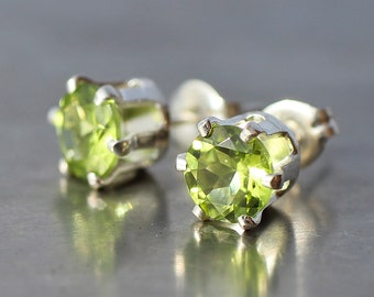 Peridot Stud Earrings, 6 mm Round August Birthstone Earrings, 6 Prong Sterling Silver Post Earrings, Birthday Gift for Girlfriend