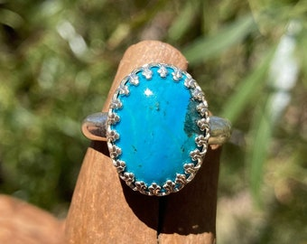 Genuine Turquoise Ring, Blue Stone Ring with 16 x 12 mm Kingman Turquoise, Sterling Silver Ring, Birthday Gift for Girlfriend, Size 8