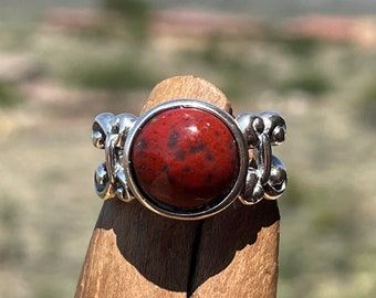 Red Plume Agate Ring, Red Stone Ring w/ 10mm Walker Ranch Agate, Sterling Silver Ring, 30th Birthday Gift for Her, Size 6