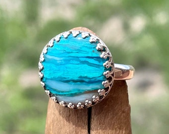 Artisan Opalina Ring, Blue Stone Ring w/ 16mm Opalized Chrysocolla Gemstone, Sterling Silver Ring, 40th Birthday Gift for Wife, Size 7