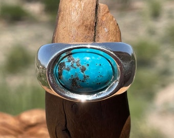 Mens Turquoise Ring, Kingman Turquoise Ring, Silver Stone Ring with 14x10 mm Gemstone, Masculine Ring, Christmas Gift for Boyfriend, Size 12