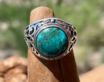 Arizona Chrysocolla Ring, Natural Stone Ring with 12mm Round Gemstone, Silver Filigree Ring, 1st Anniversary Gift for Girlfriend, Size 8