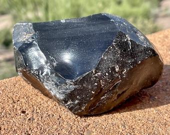 Raw Black Obsidian Mineral Specimen, Natural Black Obsidian, Arizona Volcanic Rock, Geology Gifts, 388.7 grams (13.7 oz.)