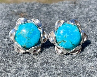 Genuine Turquoise Stud Earrings, Blue Stone Earrings with 10 mm Kingman Turquoise, Silver Stud Earrings, 11th Anniversary Gift for Wife