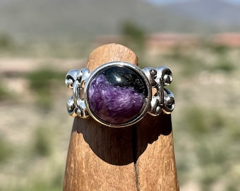 Charoite Ring, Purple Ring, 10mm Gemstone Ring, Womens Sterling Silver Ring, 30th Birthday Gift for Her, Size 7