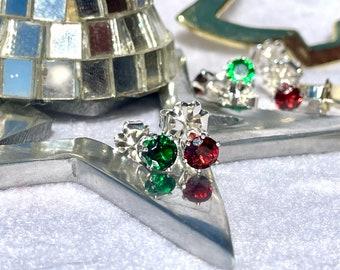Small Christmas Earrings, Red and Green Stud Earrings, 5mm Cubic Zirconia & Garnet Earrings, Silver Earrings, Stocking Stuffers for Women