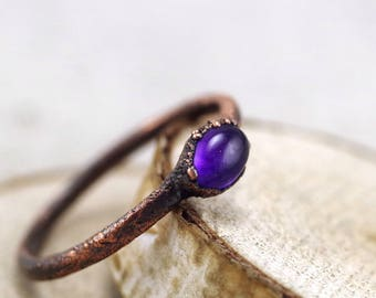 Amethyst ring, copper Ring, electroformed ring, violet ring, natural stone ring, purple ring, 7.5 US, 17.75 DE, 116
