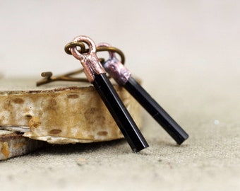 Black Tourmaline Earrings, Raw Crystal, Electroformed crystal earrings, copper earrings, raw stone earrings, black earrings