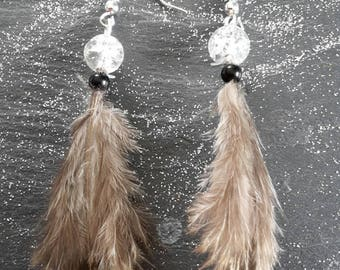 Earrings feathers and beads