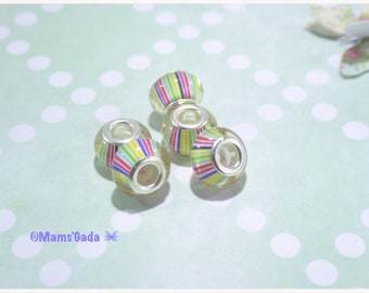 Lot of 5 Glass Pearls/European Pearls Pandora/Murano/lampwork pattern multicolored stripes REF:6/14F