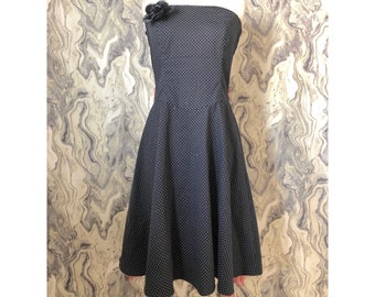 934be232e3c7 Ruby Rox Black White Polka Strapless Tube Red Tulle Pin Up Dress Costume Sz  7 XS/S Vintage Diner 50's 60's