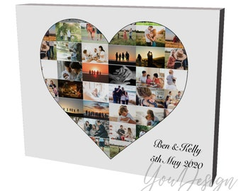 Personalised heart shaped photo collage box framed canvas print Montage