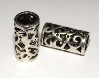 set of 2 silver metal tube