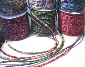 CORDON ROND SPAGHETTI Coton Motifs Incas Ethnique Liberty    4 mm     Couture bijou tresse cheveux - vendu au mètre 7d95b85c69af