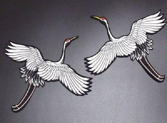 Applique à repasser ÉCUSSON PATCH THERMOCOLLANT OISEAU GRUE BLANC 10 x 11 cm