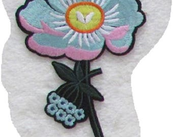 C5869 - Pink flower Blue * 9 x 12 cm * Applique badge patch embroidered iron - iron