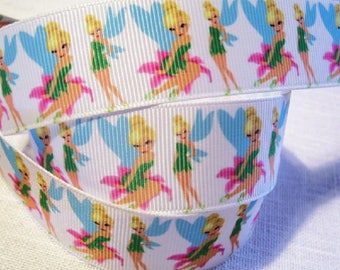 Printed grosgrain Ribbon * 25 mm * TINKERBELL SILHOUETTE - sold by the yard