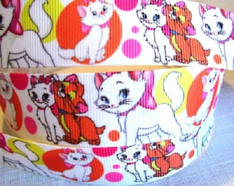 Printed grosgrain Ribbon * 25 mm * cat MARIE CAT bubbles colorful Cartoon - sold by the yard
