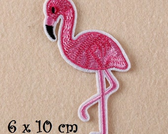 Patch embroidered patch Thermo - pink Flamingo bird * 6 x 10 cm * applique iron-on