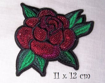 C5438 - Red ROSE flower sequin * 11 x 12 cm * Applique badge patch embroidered iron - iron