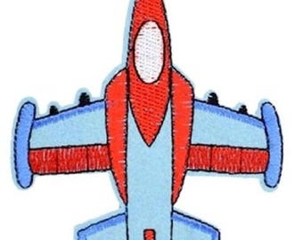 Patch embroidered patch Thermo * 9 x 7 cm * red blue airplane - Applique iron-on