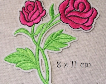 C2335 - Pink DOUBLE flower * 8 x 11 cm * Applique badge patch embroidered iron - iron