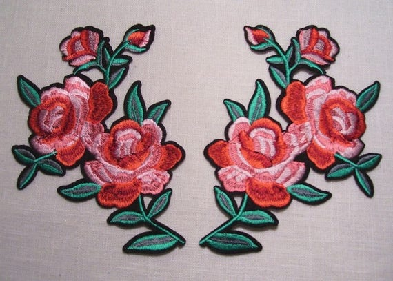 Ecusson brodé thermocollant Rose rouge embroidered patch iron on 13 x 7 cm