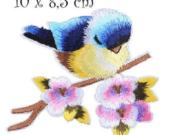 Patch embroidered patch Thermo * 10 x 8.5 cm * bird branch flower - Applique iron-on