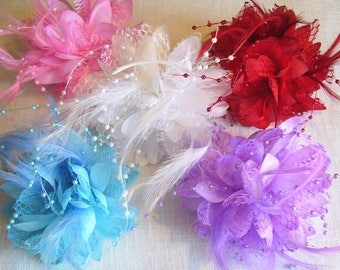 B/CH01 - SCRUNCHIE elastic lace feather wedding ceremony Pearl flower BROOCH