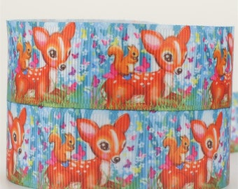 Printed grosgrain Ribbon * 25 mm * FAWN BAMBI squirrel forest - sold by the yard