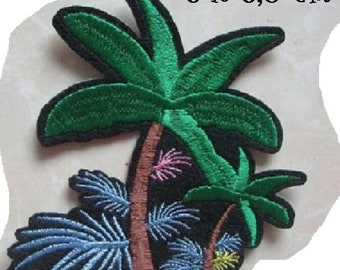 Patch embroidered patch Thermo - Palm tree Island * 8 x 8.5 cm * Applique iron-on